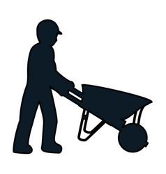 Color pictograph laborer with wheelbarrow vector