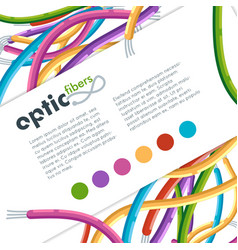 colorful network optic fiber cables vector image
