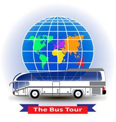 Concept of a bus tour around the world vector