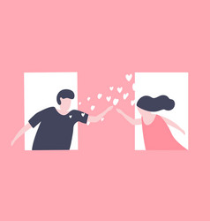 couples send love in the window for valentine day vector image