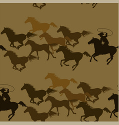 cowboy chasing a herd wild mustang horses vector image