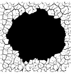 cracks with a hole on the wall vector image