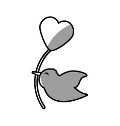 cute bird heart balloon romantic vector image
