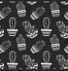cute hand drawn cactuse pattern vector image