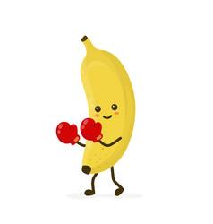 cute smiling strong banana fighting vector image
