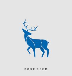 deer pose color template vector image