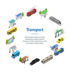 different types city public transport 3d banner vector image