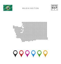 Dots pattern map washington stylized vector