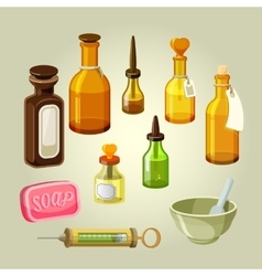 Empty bottles flasks potions and drops vector image