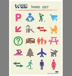 Family and vacation human figures icons set vector image