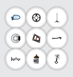 flat icon component set of auto component gasket vector image