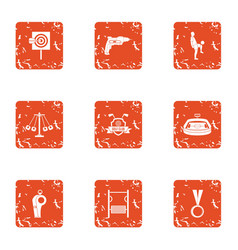 football manager icons set grunge style vector image