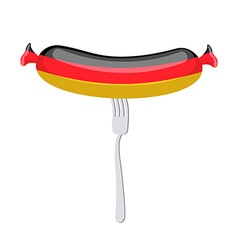 Germany banger Sausage on a fork Traditional vector
