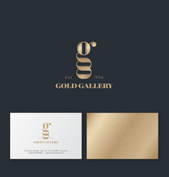gold gallery monogram double details business card vector image