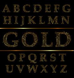 gold letter alphabetic fonts vector image