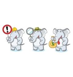 Gray Elephant Mascot with money vector image