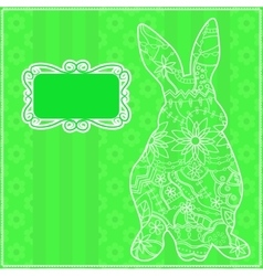 Green background with rabit vector image