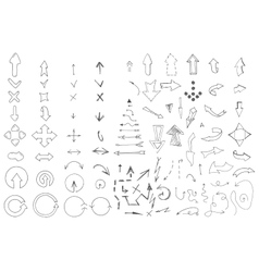 Hand drawn arrows collection Doodle style vector image