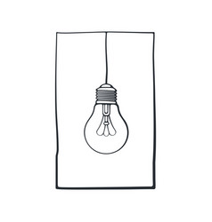 hand drawn doodle light bulb on wire in a vector image
