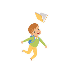 Happy boy jumping with book cute kid playing and vector