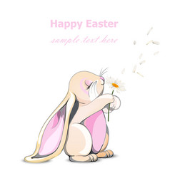 Happy easter bunny card cute rabbit vector