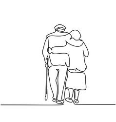 Happy elderly couple hugging and walking vector