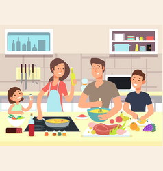Happy family cooking mother and father with kids vector