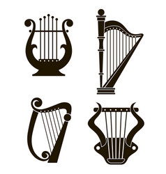 Harp and lyre icons vector