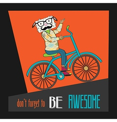 Hipster poster with nerd sheep riding bike vector