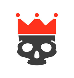 human skull with crown colored icon tattoo sketch vector image