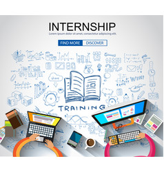 internship concept with business doodle design vector image