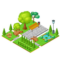 Isometric light park landscape template vector
