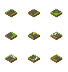 isometric road set of road footer strip and vector image