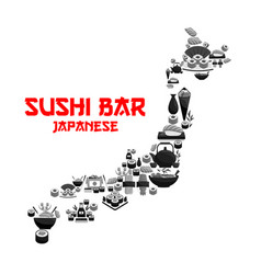 Japanese food in map of japan with seafood sushi vector