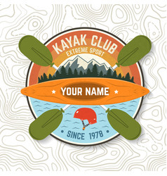 kayak club concept for patch vector image