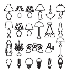 Lamps and light bulb set vector