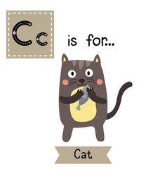 Letter c tracing standing cat holding fish vector