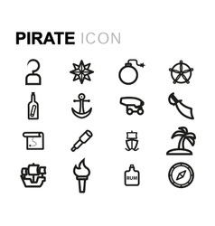 line pirate icons set vector image
