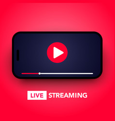 live stream concept with play button on smartphone vector image