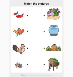 Match pictures animal and their homes vector