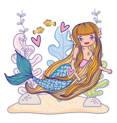 mermaid swimming undersea vector image