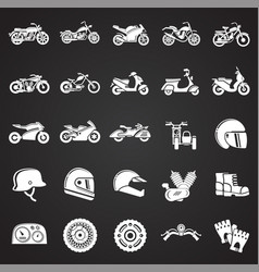 Motorcycle icons set on black background for vector