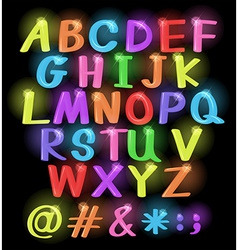 Neon coloured letters vector