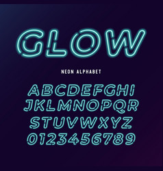Neon light modern font neon tube letters and vector