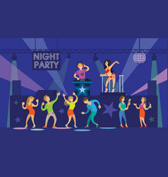 night party people dancing on dj music partying vector image