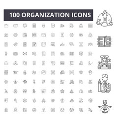 organization line icons signs set vector image
