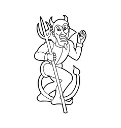 outline silhouette of devil holding trident vector image