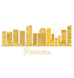 panama city skyline golden silhouette vector image