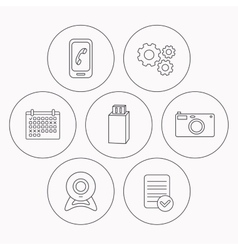 Photo camera mobile phone and Usb flash icons vector image