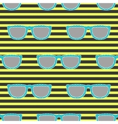 Pop sunglasses retro seamless pattern in neon vector